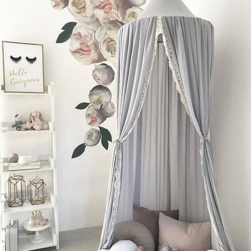 Nordic Kids Princess Canopy Bed Curtain Canopy Kids Room Decoration Baby Round Mosquito Net Tent Curtains