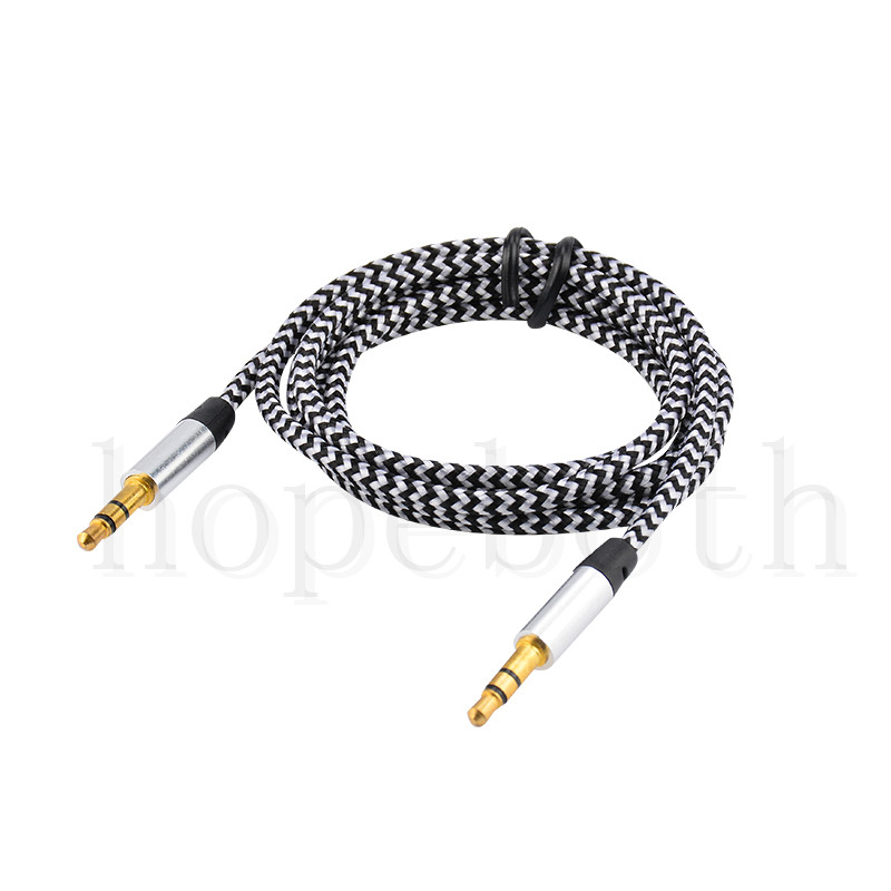 Image 4 - 100pcs/lot Audio Cable Jack 3.5 mm Male to Male Nylon Cloth Audio Aux Cable For iPhone Car Headphone Speaker Wire Line Aux Cord-in Phone Adapters & Converters from Cellphones & Telecommunications
