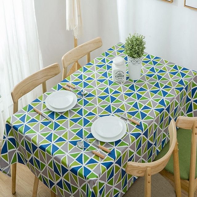 Geometric Pattern Luxury Table Cover Wedding Triangular Green Printed Cotton Thicking Cloth Home Party Decor