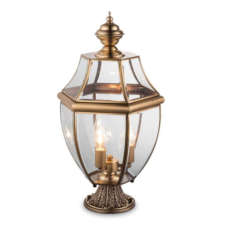 Outdoor lawn lamp and gate pillar light Europe garden light classical outdoor copper lamp and base type E27/E14