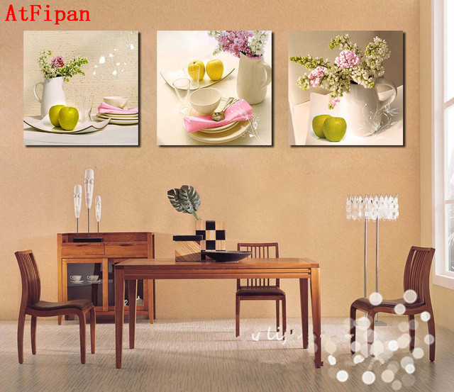 AtFipan 3Pcs Kitchen Fruit Abstract Canvas Painting On The Wall Art ...