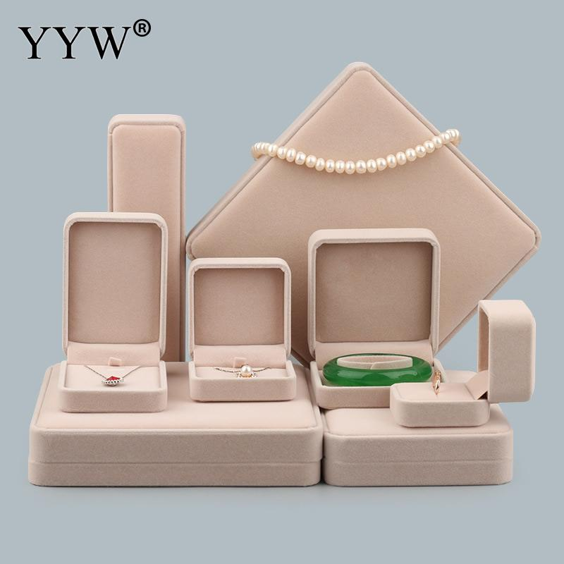 High Quality Elegant Velvet Jewelry Box For Bracelet Ring Necklace Pendant Boxes Solid Color Display Packing Jewelry Gift Box