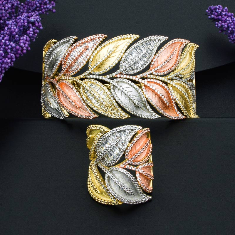 ModemAngel Super Luxury Leaf 3 Tone Bangle And Ring Set for Girls And Women High Quality