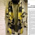 Suéteres de Manga larga de Las Mujeres 2016 Otoño Invierno Moda de Nueva Camuflaje Larga de Punto Chaquetas mujeres Trench Casual
