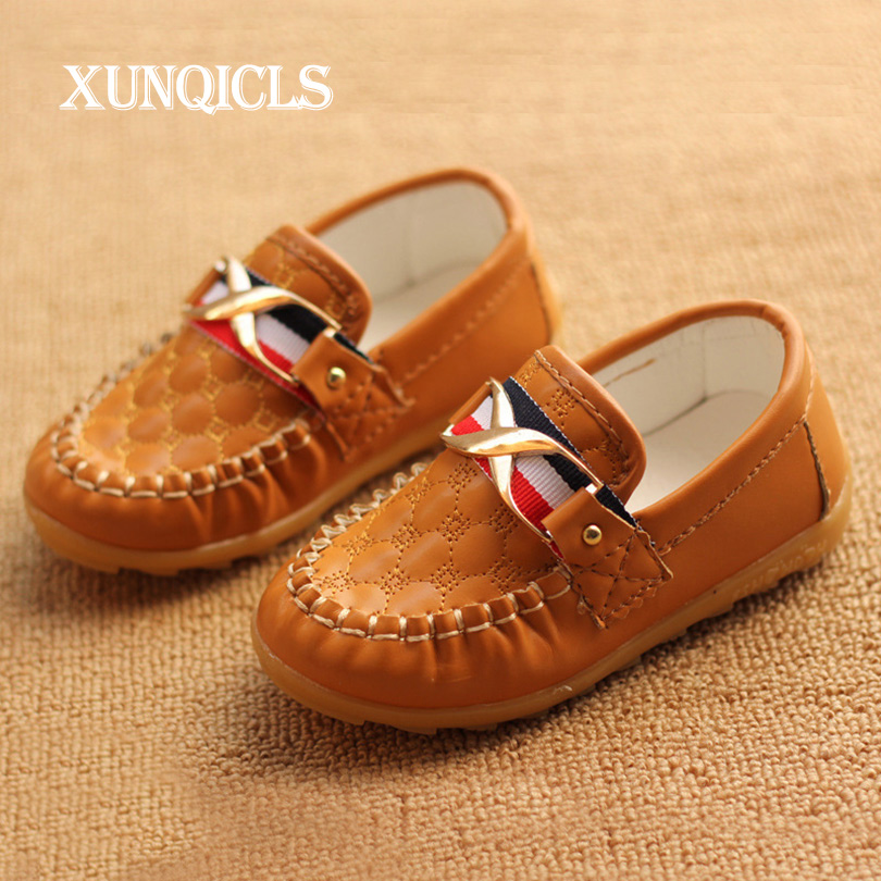 XUNQICLS 2018 New Children Shoes PU Leather Casual Boys Girls Shoes Soft Comfortable Kids Shoes