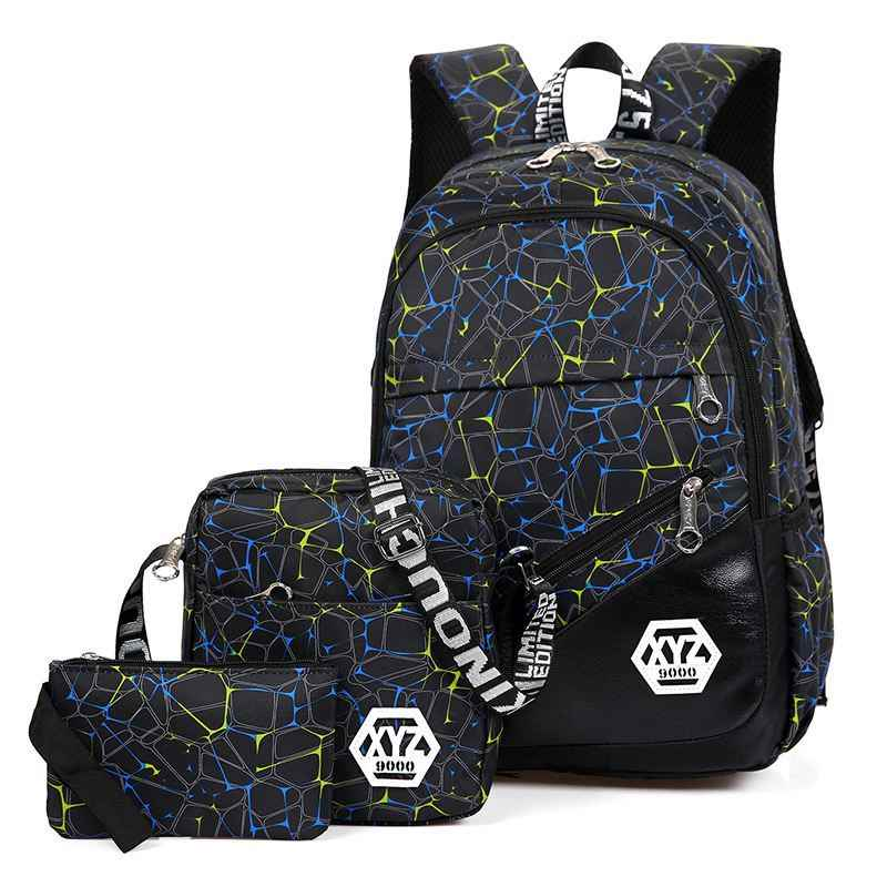 New 3 Pieces School Backpack Set Camouflage Printing School Bag Kids Oxford Bagpack For Teenage Boys Students Schoolbags Mochila