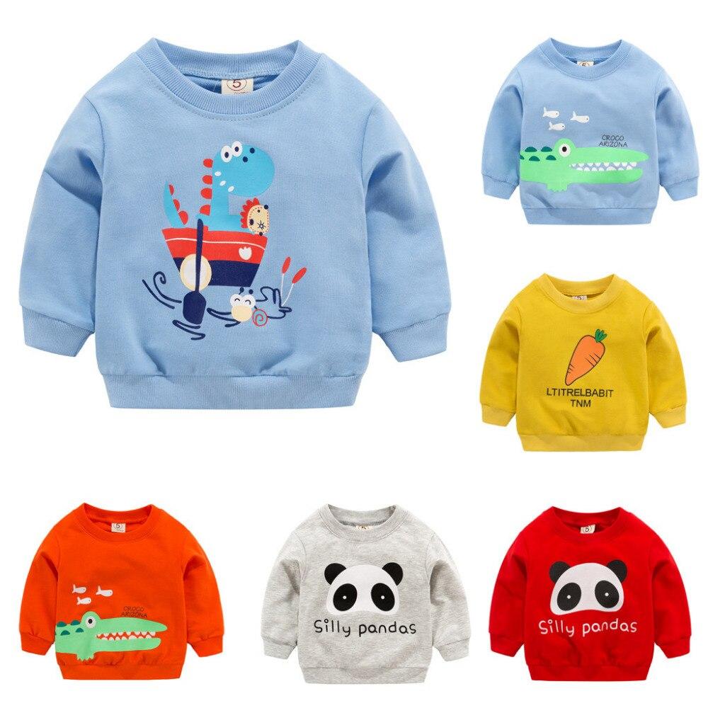 T-Shirt Crocodile Print-Clothes Spring Dinosaur Long-Sleeve Panda Children's Cotton Cartoon