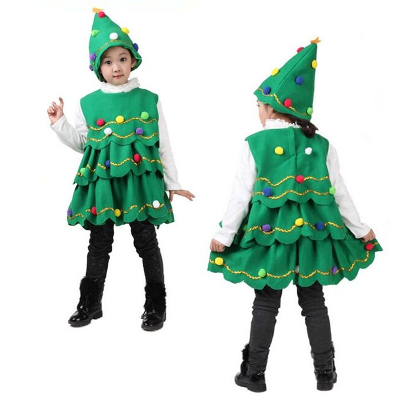 Fashion Santa costume Tree Vestidos Para Ninas Fashion Festival Cute Vetement Fille Fleece kids green christmas dress girl
