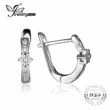 JewelryPalace Flor Cubic Zirconia Aniversario Channel Set Clip En Los Pendientes Reales de Plata de ley 925 Joyas de Regalo de Boda