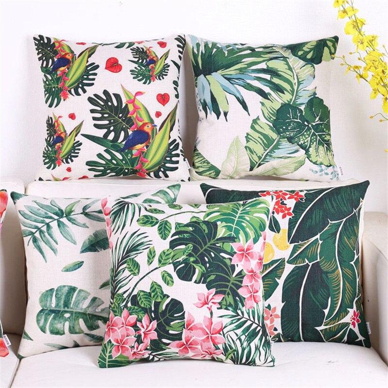 Coussins décoratifs couvrent cas carré frais fleur rural vert housse de  coussin pour canapé décoration capa de almofadas 45x45 cm 062f87bc006c