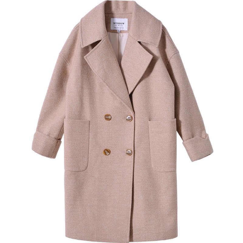 Mishow 2019 Musim Gugur dan Musim Dingin Wol Mantel Wanita Mid-Long Baru Korea Temperamen Wanita Populer Pakaian Wol Mantel MX18D9662