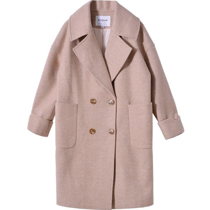 Mishow 2019 autumn and winter woolen coat female Mid Long New Korean temperament women s popular