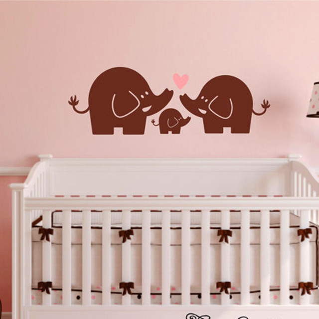 2016 New Fashion Elephant Family Wall Decal Nursery Elephant Wall Sticker  Baby Boy Or Girl Bedroom Wall Art Home Decoration DIY Part 65