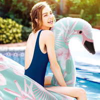 152cm Giant Flower Print Swan Inflatable Float For Adult Pool Party Toys Green Flamingo Ride On Air Mattress Swimming Ring boia
