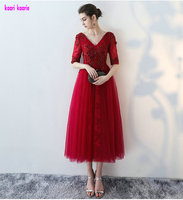 Real Photos Fashion Burgundy Long Evening Gowns 2017 Sexy V Neck Half Sleeve Lace Up Prom