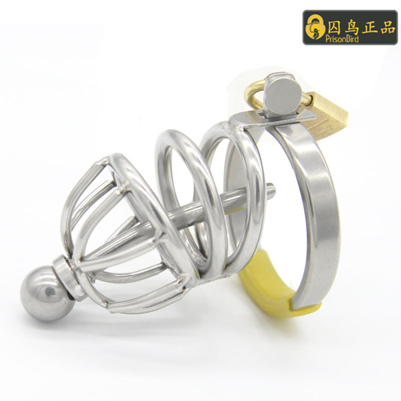 Male chastity device stainless steel cock cage with chastity steel urethral locking penis cage adult sex toys for men penis ring new super small male chastity cage with removable urethral sounds spiked ring stainless steel chastity device for men g7 183