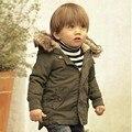 Menino Verde Do Exército Engrossar Para Baixo Removível com Pele para o Inverno crianças Acolchoado Jaqueta de Manga Longa para o Menino Criança Menino venda Quente Outwe
