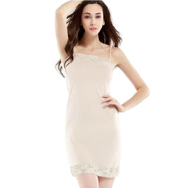 ccfd23ef27c79 Hoffen 2017 Summer Womens 100% Silk Petticoat Lace Patchwork Sexy Lingerie  Underdress Soft Fitness Silk Slip Ukraine WS124