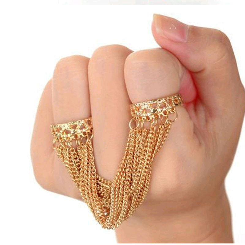 Floweralight Tassel Rings for Women Punk Retro Tassels Link Multi Chain Opened Double Finger Ring Fine Jewelry R769
