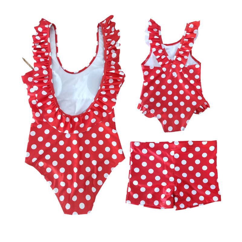 Summer Mother Daughter Son Swimwear Family Matching Outfits Mom Kids One-Piece Swimsuit Bikini Bathing Suit Son Shorts Swimwear