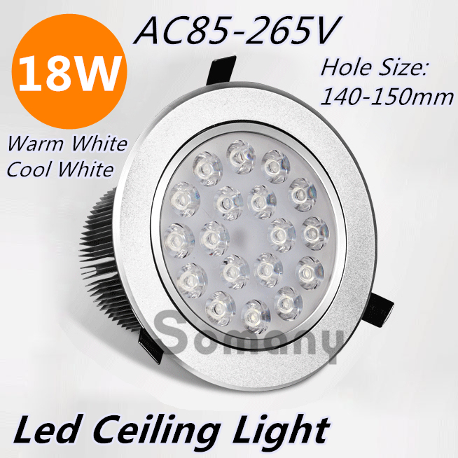 ФОТО 18W Circle Led Ceiling Light Recess Mounted Aluminum Warm/Cool White for Living Room/Balcony/Kitchen AC85-265V Led Luminaire