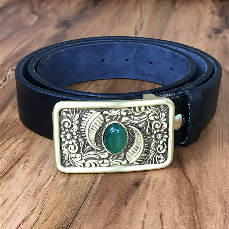 Steady Top Thick Genuine Leather Men Belt Chinese Jade Luxury Brass Belt Buckle Ceinture Homme Cinturon Hombre Riem Male Mbt0554 Men's Belts