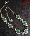 ZHHIRY Emerald Bracelet Real 925 Sterling Silver Natural Gem Stone Women Jewellry Four Precious Stones