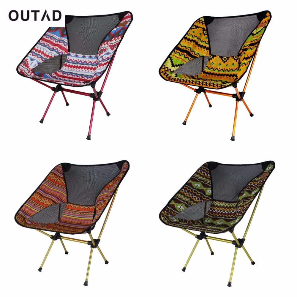 OUTAD Portable Aluminum Alloy Outdoor Chair Lightweight Foldable Camping Fishing Travelling Chair with Backrest and Carry Bag seat oxford cloth lightweight 3 in 1 outdoor portable multifunctional foldable cooler bag chair backpack fishing stool chair