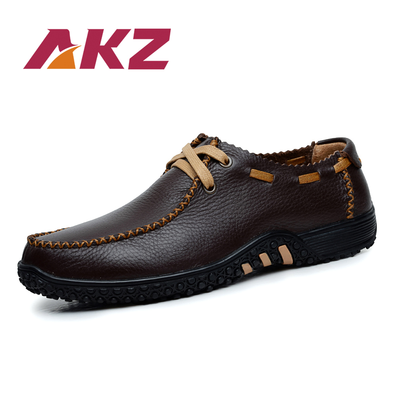 AKZ Men Casual shoes 2018 Spring Summer cow leather Breathable - Men's Shoes