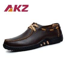AKZ Män Casual skor 2018 Vår Sommar ko läder Andas Bekväma Ljus Körskor Man Flats skor stor storlek 38-47