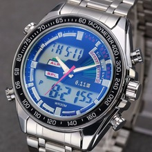 Купить с кэшбэком TIMI FullSteel Digital Quartz Double Display Fluorescent Pointer Waterproof Watch Mens Watches