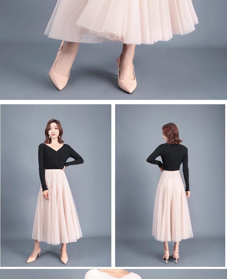 Jielur Autumn 3 Layers Princess Tulle Skirts Vintage Solid Color Mesh Women Skirt Pleated A-line Saia Female Jupe Tutu Skirts 10