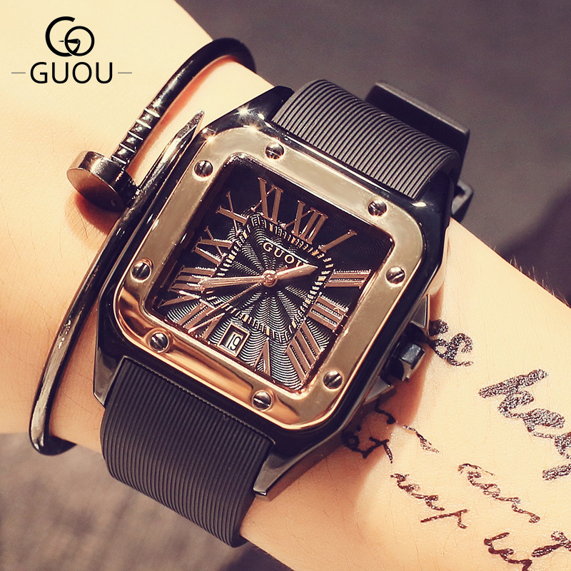 цены 100% New Arrival GUOU Square Dial 50m Waterproof Soft Rubber Band Quartz Wristwatches Wrist Watch for Women Ladies Black OP001
