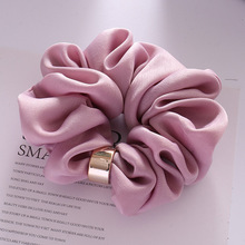 6 Färger Kvalitet Kvinnor Satin Plain Knot Hair Scrunchies Solid Color Hair Bands Enkel Silk Feeling Fabric Hair Slips Headwear