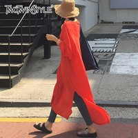 TWOTWINSTYLE Basic Dress Womens O Neck Batwing Sleeve High Split Big Size Long Dresses Summer Female 2018 Fashion Casual Clothes