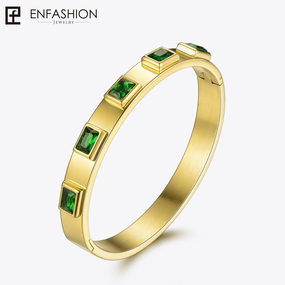 Enfashion Zirconia Crystal Cuff Bracelet Manchette Gold color Stainless Steel Bangle Bracelet For Women Bracelets Bangles 172001 enfashion basic cuff bracelet manchette gold color stainless steel bangle bracelet for women and men bracelets bangles pulseiras