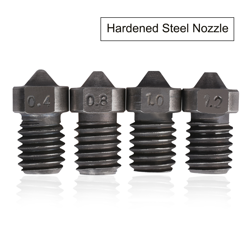 3D Printer Parts V6 Nozzle Hardened Steel Nozzle M6 Thread 1.75mm 0.4/0.8/1.0/1.2mm Filament High Quality Nozzle