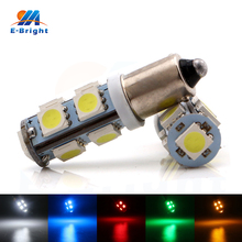 10pcs/lot 5Colors 12v Car Auto LED Interior BA9S 5050 9SMD License Plate light/Door lights/Reading Light/Width Light Sourse
