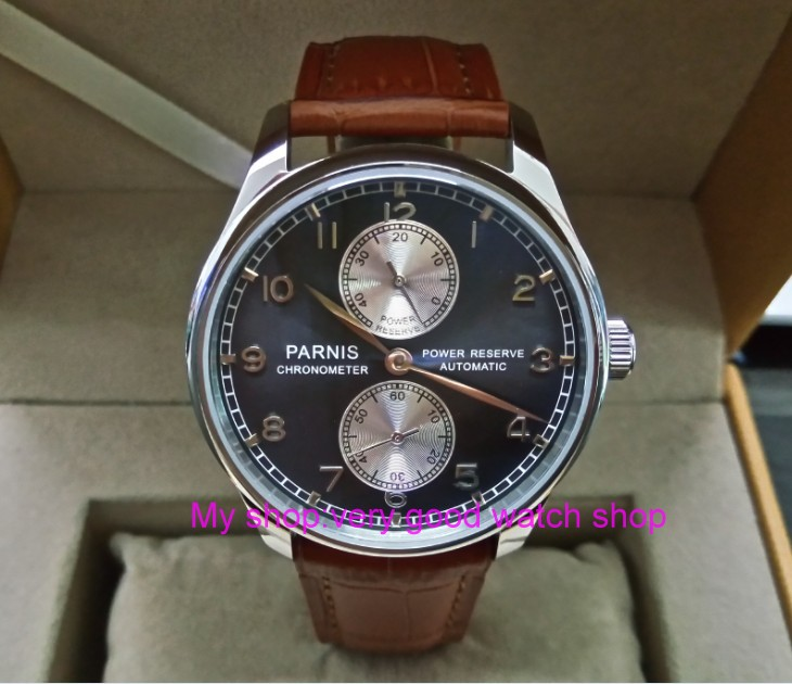 43MM PARNIS Automatic Self-Wind movement blue dial power reserve men's watch brown Leather Strap Mechanical watches 174a 43mm parnis white dial power reserve automatic self wind mechanical movement men s watch cow leather watch strap zdgd01
