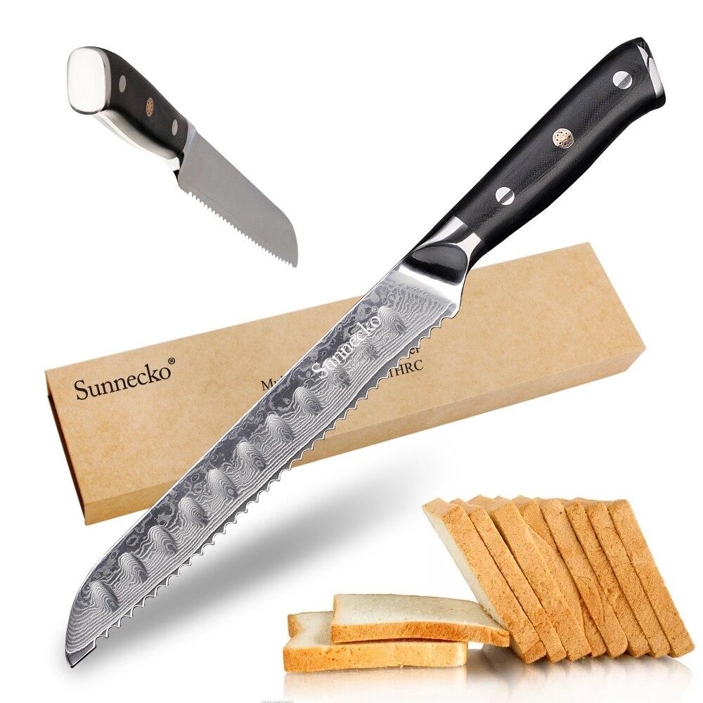 "Sunnecko 8 ""인치 빵 요리사 나이프 주방 나이프 다마스커스 vg10 면도기 샤프 스틸 케이크 나이프 커터 도구 g10 손잡이-에서주방 칼부터 홈 & 가든 의  그룹 1"