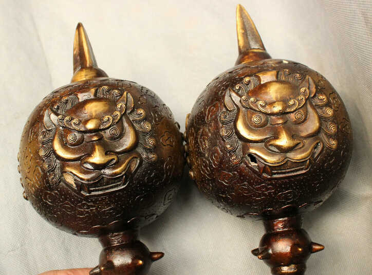 "JP S0606 24 ""Chinese Bronze Naga Patung Kepala Penjaga Singa Wajah Phurpa Jimat Mace Pair"