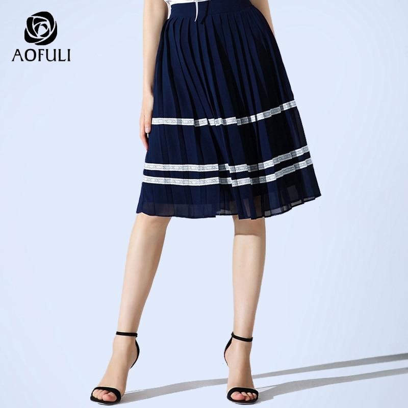 AOFULI L- XXXL 4XL 5XL Striped Knee-length Skirt 2018 Summer Pleated Skirt Women  Plus Size Dark Blue Skirt Casual Clothing 3503 9ccce94de250