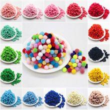 Pompon bola fofinha artesanal de 10mm, multicolor macia, pompom, cercadinho, para crianças, brinquedo, faça você mesmo, materiais de artesanato 100 peças de pçs