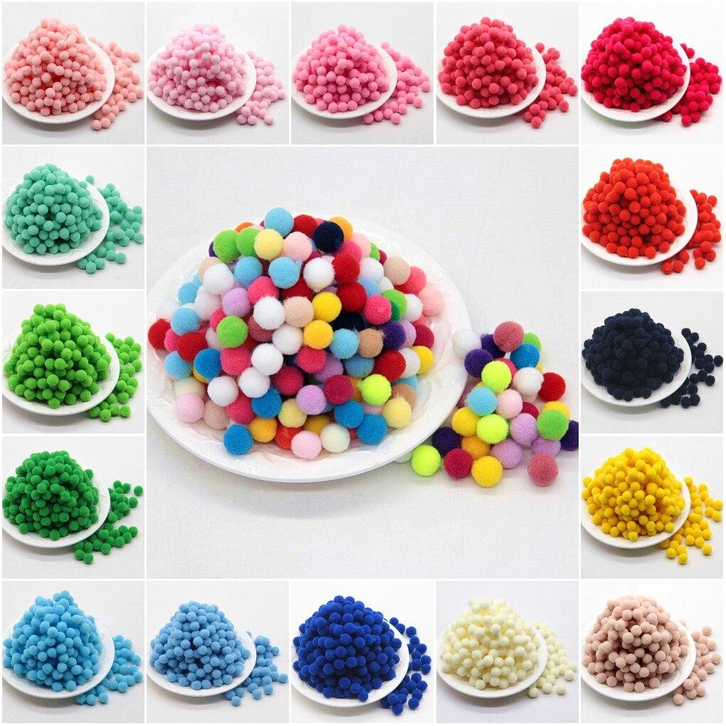 Pompon 10mm multicolorido macio fofo pompones bola artesanal mini pompom bricolage para crianças brinquedo diy artesanato suprimentos materiais 100 pçs