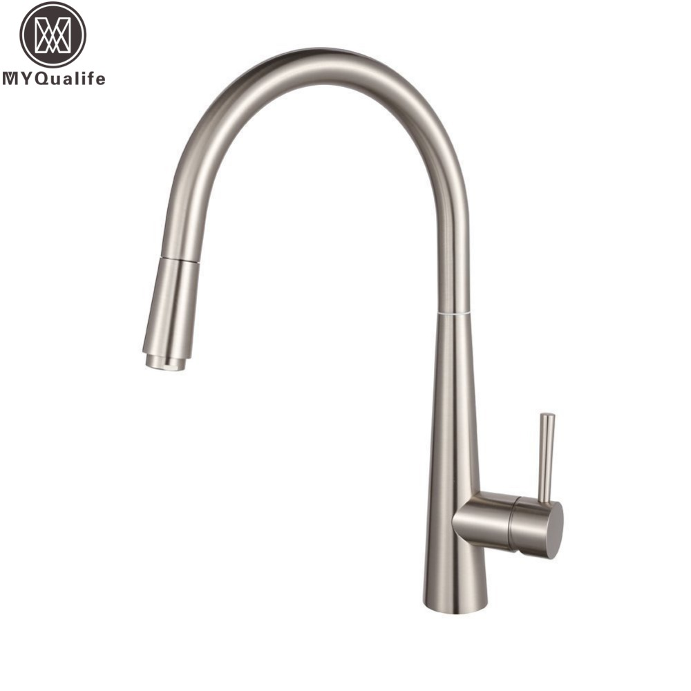 Modern Swivel Rotating Spout Kitchen Vessel Sink Faucet With Pull Out Sprayer Brushed Nickel Hot and Cold Water Taps modern new chrome kitchen faucet pull out single handle swivel spout vessel sink mixer tap hot and cold water waterfall lh 6073l