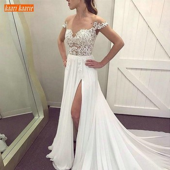 Charming Boho White Chiffon Beach Wedding Dresses Delicate Appliques Lace Pageant Wedding Dress Sweep Train Country Bridal Gowns