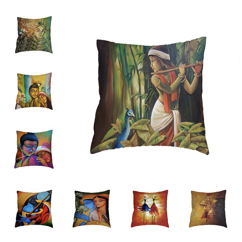>Indian <font><b>Style</b></font> Buddhist Element White Cushion Cover Bamboo Flute Pillowcase <font><b>Farmhouse</b></font> Home Chair Pillows Decoration Accessories