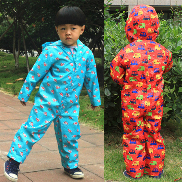 JiAmy Baby One Piece Rain Suit All in One Raincoat Hooded Rain Coverall Kids Outdoor Rainsuit Waterproof Jumpsuit for 1-7 Years