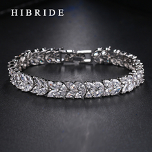 HIBRIDE JEWELRY Brand New Design AAA Cubic Zircon Wedding Bracelets& Bangles White Color Luxury Women Jewelry, B-004