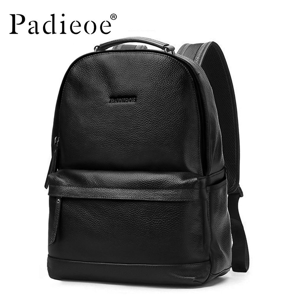 Padieoe Luxury Brand Men Backpack Black Genuine Leather Bag Fashion Solid Men Casual Travel Backpacks famous brand luxury men backpack genuine leather vintage mochila black men sport double shoulder bag men s backpacks bp00042